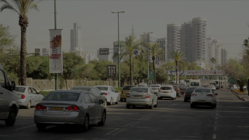 TEL AVIV, ISRAEL - 25 April, 2015: Traffic near city center in Tel Aviv, Israel.
