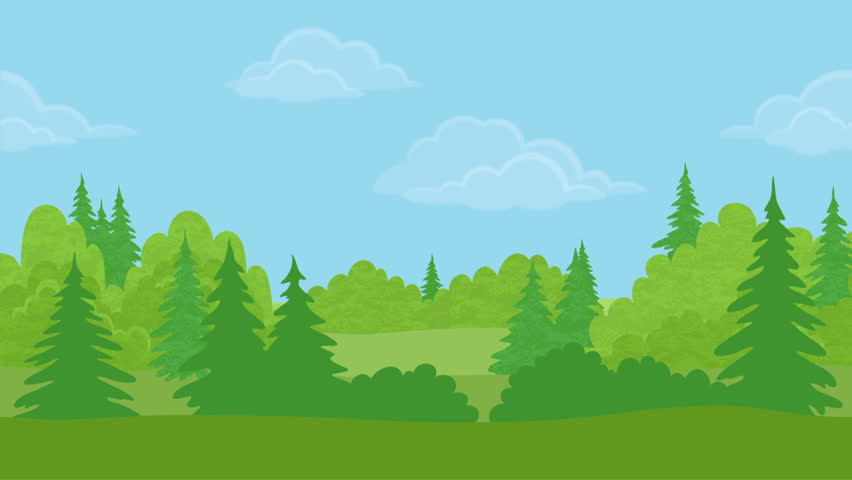Huge Animated Forest On A Green Screen Background Stock ...