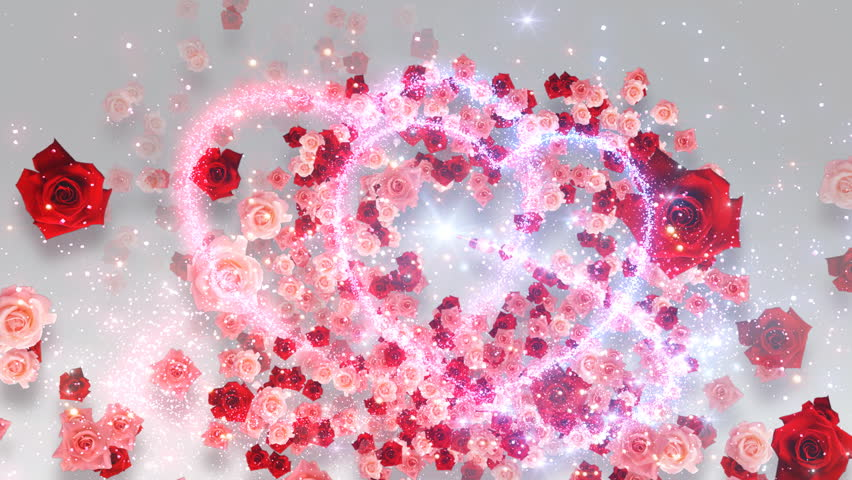 Colorful Sparkling Heart with Rose.
