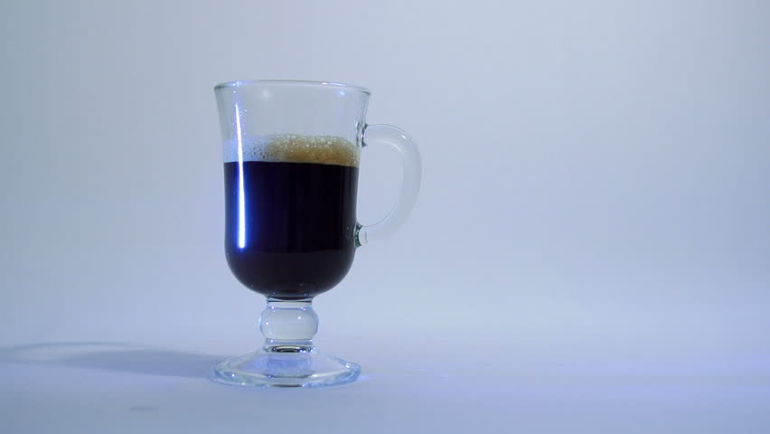 glass cup of coffee with milk - HD stock footage clip
