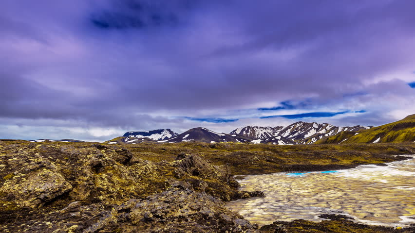 Iceland - 15 June 2015: Valley Landmannalaugar - a unique natural flow of lava and numerous rhyolitic tops, the area with a strong geothermal activity. 4K TimeLapse | Shutterstock HD Video #9902357