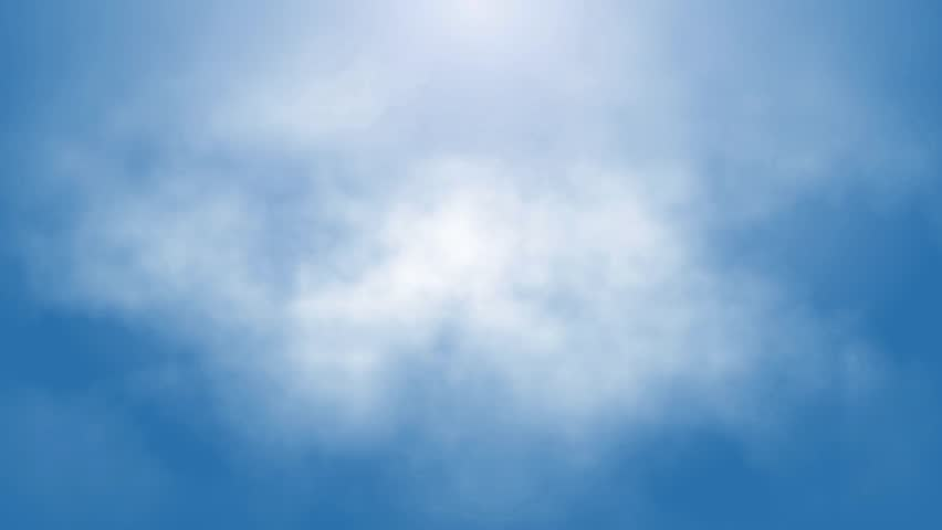 flight over white clouds under blue sky background, seamless loop ready animation hd 1080 - HD stock footage clip