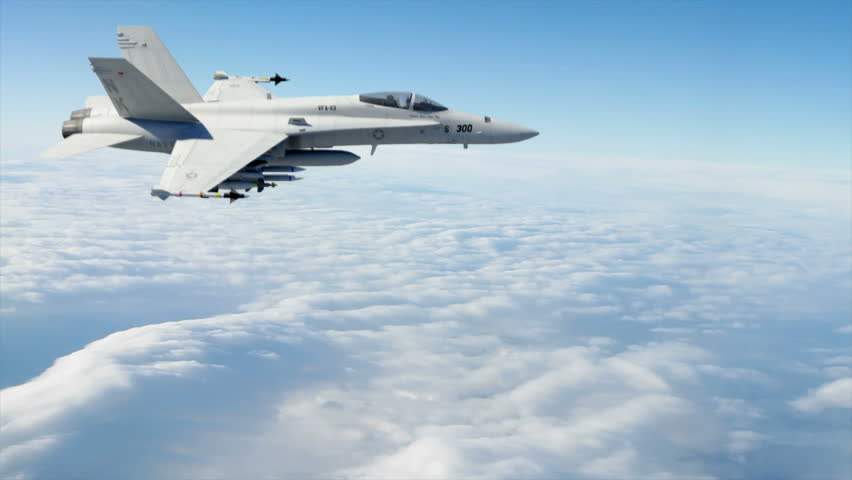 An F18 Fighter Jet flying high above the clouds. (Highly detailed animation of F18 Fighter Jet rendered with Mental Ray).