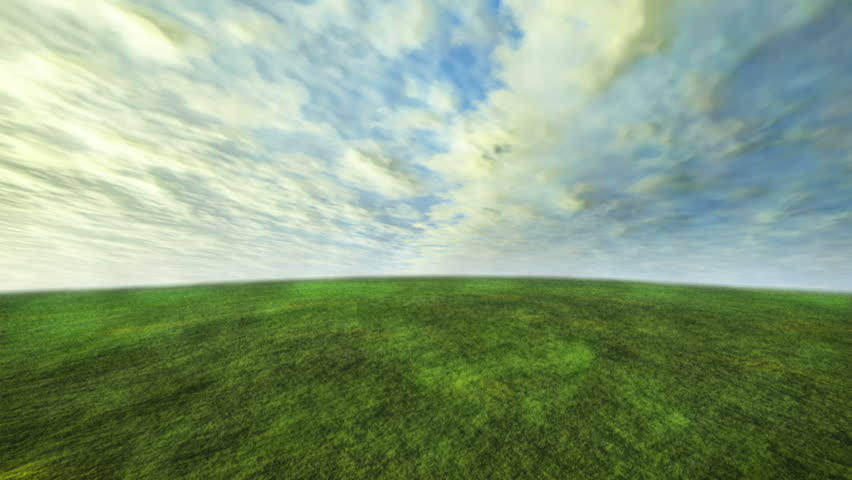 3D cloud and grass time lapse with green concept - HD stock footage clip