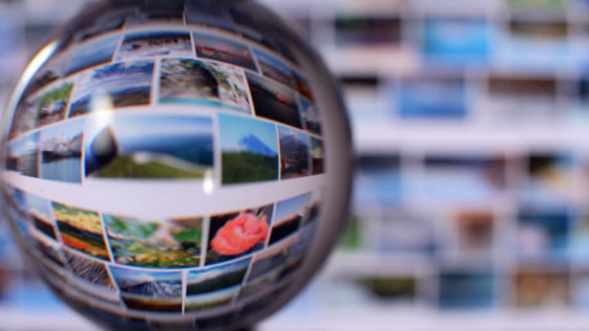 Search Engines, funny view. View computer monitor through a glass sphere. Find photos, pictures, images