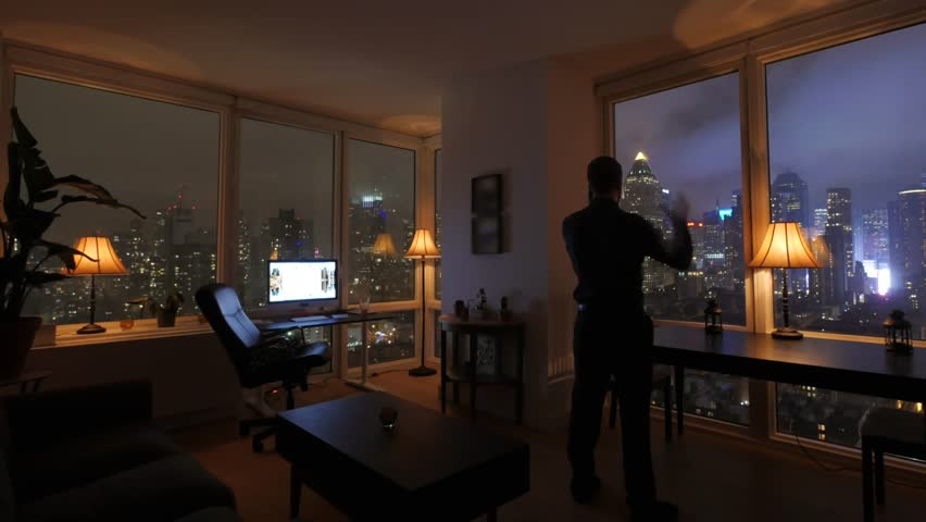 Amazing View Of High Rise Apartment Loft At Night Urban City Lifestyle Backg