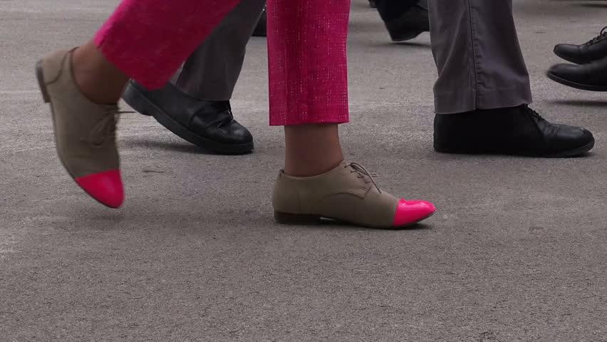 People Walking on Pedestrian Urban City Street Pavement, Shoes on Asphalt
